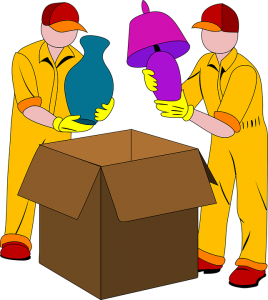 An illustration of professional pckers packing some items in a cardboard box.