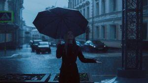 Girl in the rain.