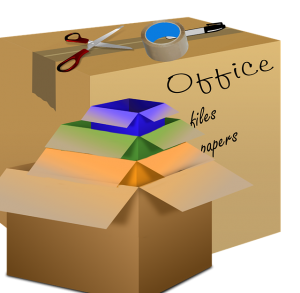 An illustration of a few boxes with labels, scissors, and duct tape.