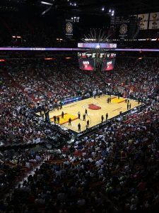 View of the court and arena where the Miami Heat plays their home games.