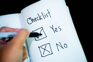 A checklist with yes and no.