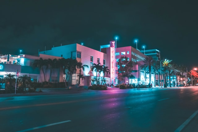 A building at night in one of the most desirable Miami neighborhoods.