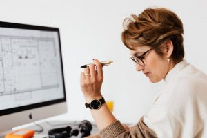 Woman concentrated on a business project